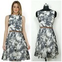 Grey & White Printed Designer Dresses On Satin Silk