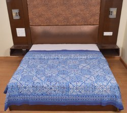 Queen Indigo Block Print Applique Cutwork Bedspread