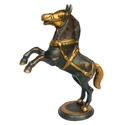 Black Brass Horse Statue Standing Horse On Two Legs, Size/dimension: 2.5x9x10 Inch, For Interior Decor