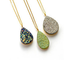 Sterling Silver Coated Druzy Necklace