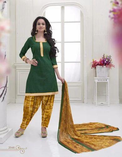 Party Wear Dark Green Green Cotton Salwar Suit Rs 443 Piece Id