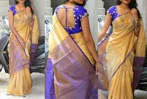 6b80d8e4f Cream And Violet Silk Uppada Pattu Sarees, 6.3 M (with Blouse Piece ...