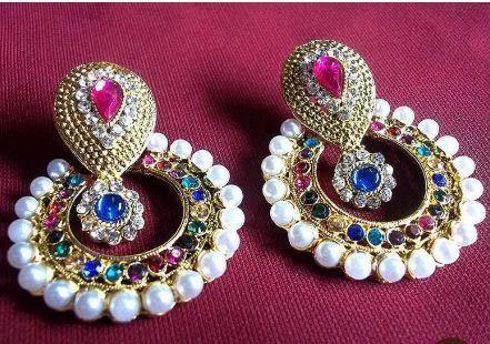 00828919a5a Rainbow Color Pearl Polki Earrings