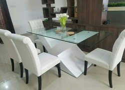 Wood White Dinning Table With Chairs, For Home