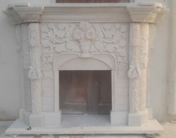 Fireplace In White Marble