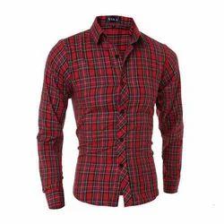 Men Red Cotton Check Shirt