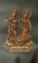 Wood Sculpture Of Radha And Krishna