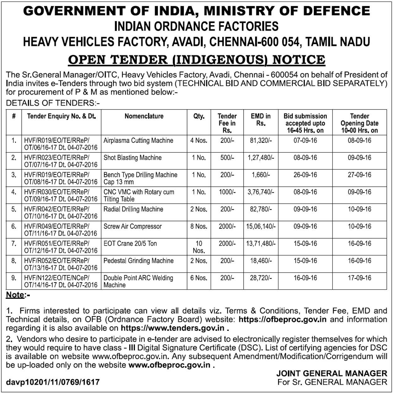 indian ordnance factory tenders
