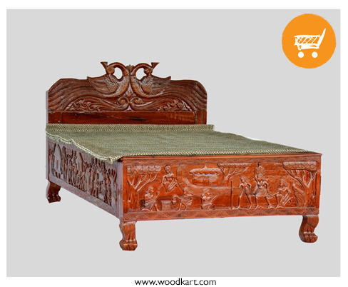 Walnut Bastar Art Acacia Wood Single Bed