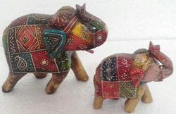 Hand Painted Wooden Elephant Pair (Set of 20)