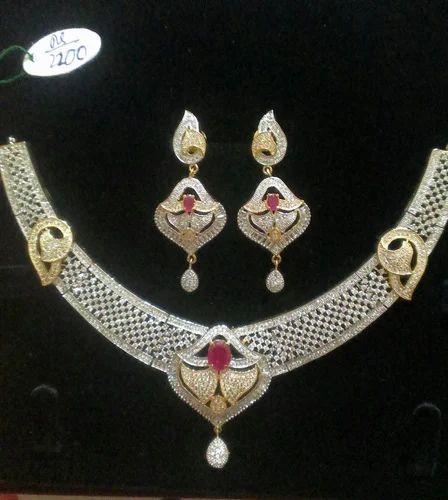 7d2dfa8d0 Designer Diamond Necklace Set at Rs 2800 /set(s) | Diamond Necklace ...