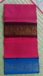 Maruthi Red green blue yellow maroon Madurai Checks Ganga Jamuna Sarees, Blouse Size: Without blouse