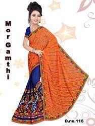 60 gm Georgette Aari Work Half Half Saree