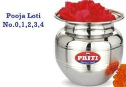 Steel Silver SS Pooja Loti, Packaging Type: Poli, Size: 0 To 3