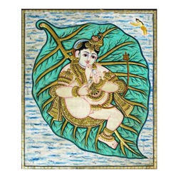 Balkrishna With Leaf Tanjore Painting