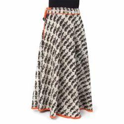 Cotton and Linen Handmade Block Print Charcoal Long Skirt