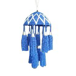 Candle-Style Blue, White Hanging Chandelier
