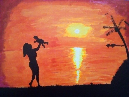 Mom And Child Silhouette Hand Painted Painting & Elephant Handmade