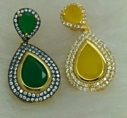 Color Stone CZ Earrings