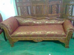 Wooden Carved Cushion Deewan Sofa