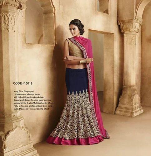 980acc4de93d Semi Stitched Navy Blue Colour Thread Work Bridal Lehenga Choli Classic 5019