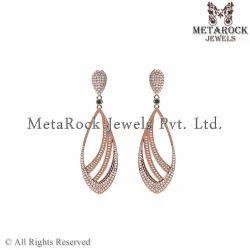 14k Rose Gold Party Wear Diamond Earring Jewelry