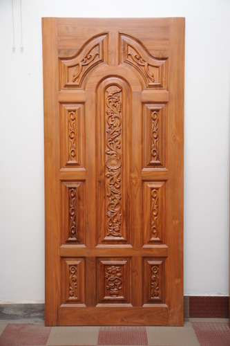 Elegant Furniture Teak Wood Main Door   Padaiyappa Flower Model