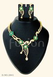 American Diamond Emerald Necklace Set