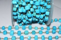 Turquoise Cubes Gold Wire Wrapped Rosary Beaded Chain