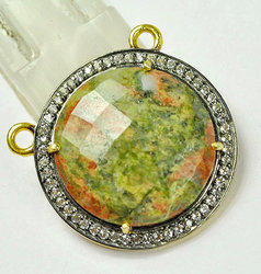 Unakite Pave Set CZ Connector