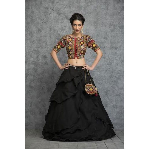 55b873dc9136 Multi Coloured Kutch Crop Top and Black Beauty Skirt at Rs 27849 ...