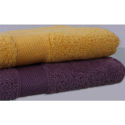 Yellow and Purple Cotton Dyed Towels, Size: 55x75cm