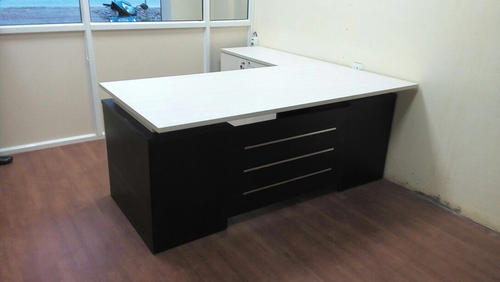 Wooden And Metal L Shape Office Table Set Front View Size Feet