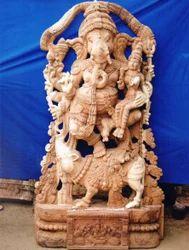 Wooden Vallabha Vinayakar 7 Feet Statue