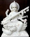 Marble Saraswati Statue On Lotus