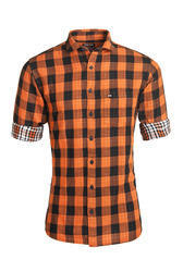 Orange Double Fabric Casual Check Shirt