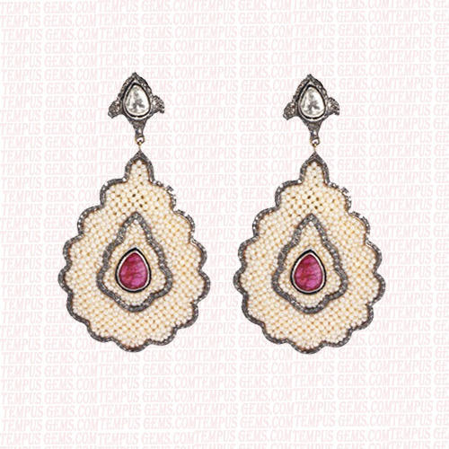Pearl Ruby Earrings
