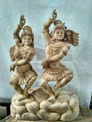 Lord Shiva and Parvati wooden statue