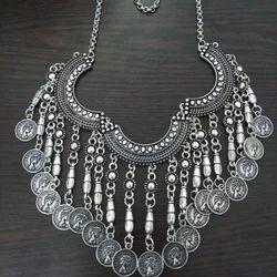 Party Wear German Silver Oxidised Necklace, Size: Adjustable