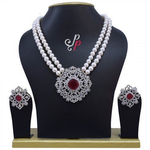 cbed5d2d3 Ruby Pendant Pearl Necklace Set at Rs 8300 /set | पर्ल का ...