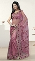Pink Net Shimmer Designer Bridal Embroidered Saree