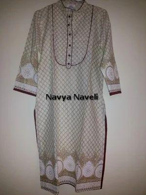 Gold Print Off White Kurta, Ladies Dresses, Apparels