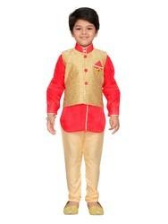 Raw Silk Kurta Pyjamas And Waistcoat For Kids