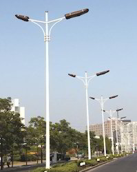 Double Armed Solar Street Light Pole