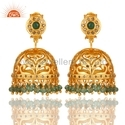 Pave Diamond Gemstone Gold Plated Earrings