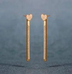 Designer Gold Plated Heart Shape Earring