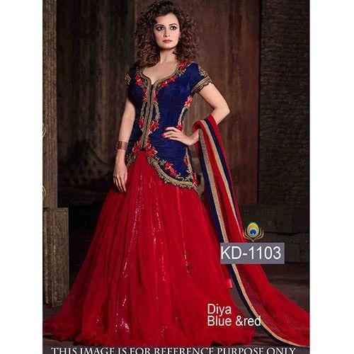 7823346d00 Blue & Red Suit at Rs 1000 /piece(s)   Ladies Ke Designer Suit ...