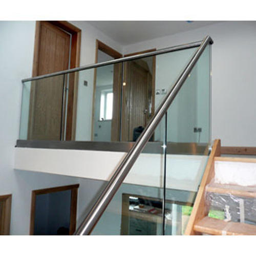 Stainless Steel Railings Glass Handrails Installation: Silver Stainless Steel Glass Hand Railing, Rs 2500 /feet