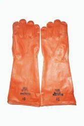 16 Inch Orange Rubber Gloves
