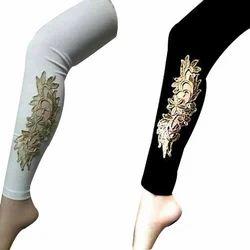 Fklick Black White Ankel Gold Ladies Legging, Size: Xl, Xxl